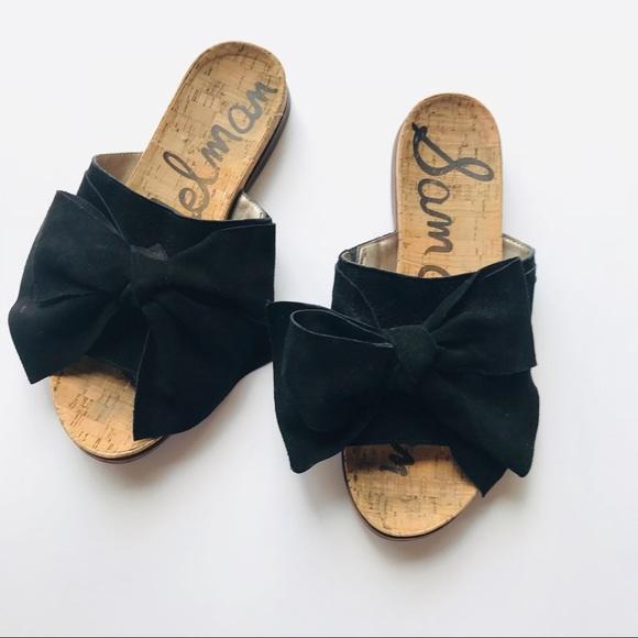 7909d41f86c0 Sam Edelman Black Leather Bow Slides